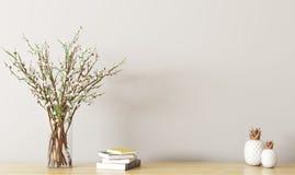 Plank met bloemtak het 3d teruggeven stock illustratie