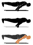 Plank push up. Vector silhouettes of street workout - plank push up Stock Photography