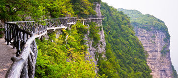 Plank road along high cliff, Mount Tianmen, China Royalty Free Stock Images