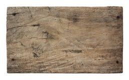 Plank van oud hout dat op witte achtergrond wordt geïsoleerd Stock Fotografie