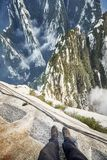 Plank Walk at Huashan Mountain, worlds most dangerous trail. Stock Image
