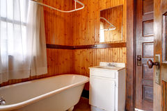 Plank wall small bathroom Stock Images