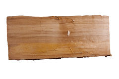 Plank of wood. Old plank of wood. Isolated on white background royalty free stock image