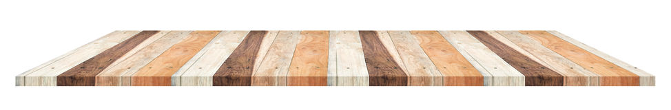 Plank wooden table in tropical style isolated on white backgroun Royalty Free Stock Photos