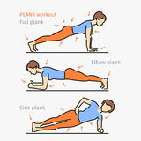 Plank workout. Woman making exercise. Stock Images
