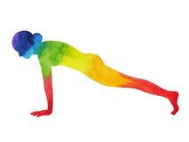 Free Plank Yoga Pose, 7 Color Chakra Watercolor Painting, Hand Drawn Stock Photo - 90843220