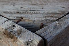 Planked木头桌 免版税库存照片
