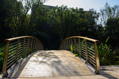 Planked arch footbridge over the brook in sunny winter morning. Chengdu,China Royalty Free Stock Photos