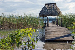 Planked footway. On the the lake, Guatemala Royalty Free Stock Photography