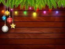 Planked-Holz mit Weihnachtsverzierung Lizenzfreies Stockbild