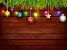 Planked-Holz mit Weihnachtsverzierung Stockfotos