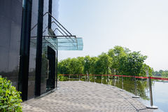 Planked path and verdant pond outside modern building in sunny s Royalty Free Stock Photos