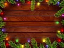 Planked trä med julprydnaden Fotografering för Bildbyråer