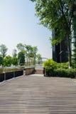 Planked trottoar mellan det moderna byggnad och dammet i solig summe Royaltyfri Bild