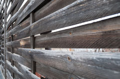 Planked wooden fence - horizontal view stock photos