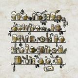 Planken met bier, schets voor uw ontwerp Stock Afbeelding