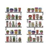 Planken met groenten in het zuurkruiken voor uw ontwerp Royalty-vrije Stock Foto