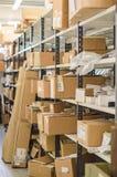 Planken met pakketten. royalty-vrije stock foto