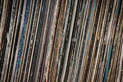 Plankenhoogtepunt van oude uitstekende vinylverslagen Stock Foto's