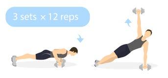 Plankoefening met gewichten Stock Afbeelding