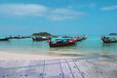 Planks backdrop beach blur boat Stock Images