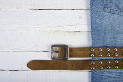 Planks, blue jeans and belt Stock Photos