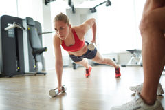 Planks in gym Royalty Free Stock Photo