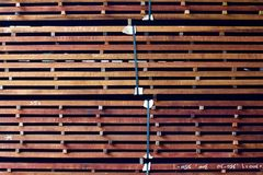 Planks of hardwood stacked vertically. And bound together Stock Photo