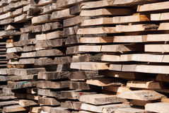 Planks in sawmill Stock Image