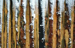 Planks and snow. A fragment of plank wall Stock Photos