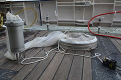 Plankton net aboard a research vessel Royalty Free Stock Photos