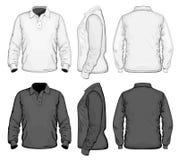 planlägg den långa mallen för muffen för skjortan för manpolo s vektor illustrationer