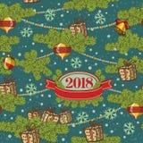 planlägg den seamless modellen Glad julkortgarnering Lyckliga designbeståndsdelar för nytt år Tappningbakgrund av brand stock illustrationer