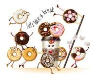 Planlägg en affisch med donuts för tecknad filmtecken arkivfoton
