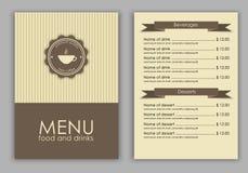 Planlägg en meny för kaffe stock illustrationer