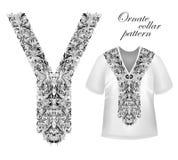 Planlägg för krageskjortor, skjortor, blusar, T-tröja Svart och etnisk blommahals för guld- färger Dekorativa Paisley vektor illustrationer