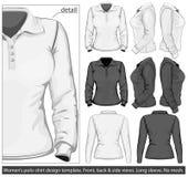 planlägg långa för skjortamuffen för polo s kvinnor för mallen royaltyfri illustrationer