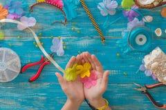 planlägg, mönstra, räcka, gjort, mandalaen, tråden, makramén, objekt, l Royaltyfria Bilder