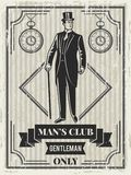 Planlägg mallen av den retro affischen för gentlemanklubba vektor illustrationer