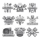 Planlägg mallen av etiketter och emblem med bilhjälpmedel och detaljer royaltyfri illustrationer
