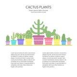 Planlägg mallen med färgrika kakturs i en kruka Symbol av kaktusblomman Fotografering för Bildbyråer
