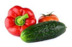 Planlägg peppar, tomaten, gurkan som isoleras på vit. arkivbild
