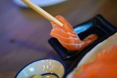 planlägg praktiska sushi för laxen för elementmenyrestaurangen mycket arkivfoto
