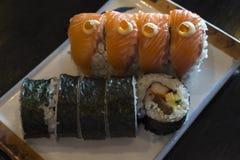 planlägg praktiska sushi för laxen för elementmenyrestaurangen mycket Royaltyfria Bilder