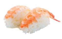 planlägg praktiska sushi för räkan för elementmenyrestaurangen mycket Royaltyfri Bild