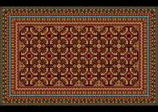 Planlägg prydnaden för en gammal matta i röda och rödbruna toner Arkivfoton