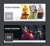 Planlägg sociala baner för sportar som joggar, idrottshall med bilder Royaltyfri Bild