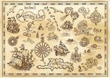 Planlägg uppsättningen med nautiska dekorativa beståndsdelar, fantasivarelser, piratkopiera skattöversiktsdetaljer vektor illustrationer