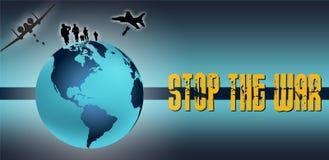 Planlägg världen med beståndsdelar av kriget och stoppa det skriftliga kriget Royaltyfri Bild