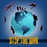 Planlägg världen med beståndsdelar av kriget och stoppa det skriftliga kriget Royaltyfria Foton